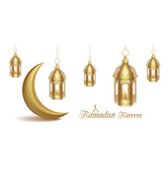 Set arabic golden lamps with light with crescent vector