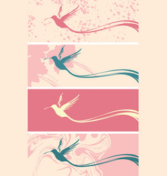set of banners with hummingbird silhouette vector image
