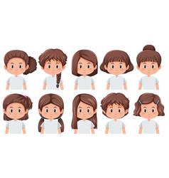 set of brunette girls faces vector image