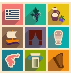 Set of flat web icons with long shadow Greece vector