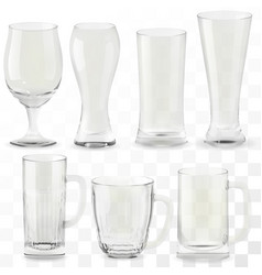 set of realistic transparent beer glasses vector image