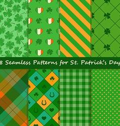 Set of St Patricks Day seamless pattern vector image