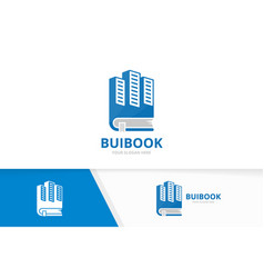 skyscraper and book logo combination house vector image