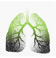 Smoke people lungs dotted silhouette vector