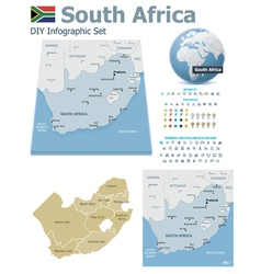 South Africa maps with markers vector image