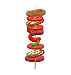 Stick meat food icon vector