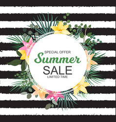 summer sale banner with palm and other leaves an vector image