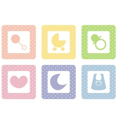 sweet pastel icons with polka dot vector image
