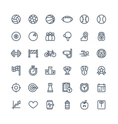 Thin line icons set with sport and fitness vector