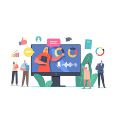 Tiny businesspeople characters online board vector