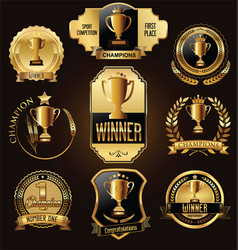trophy and awards golden badges and labels vector image