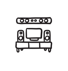 Tv flat screen and home theater sketch icon vector