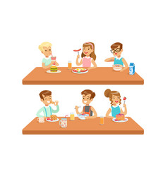 Two conceptions children feeding healthy meals vector