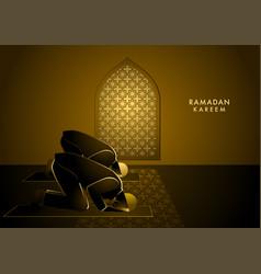two men praying in mosque under window vector image