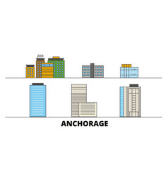 United states anchorage flat landmarks vector
