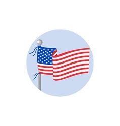 Usa flag stars and stripes on flagpole circle vector