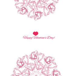 Valentines printable poster flowers vector
