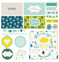 Vintage Rain Sky Party Set vector image