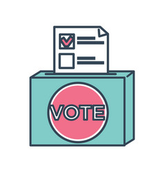 vote ballot paper with mark for candidate chosen vector image
