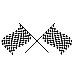 Waving checkered racing flags crossed chequered vector