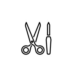 Web line icon scissors and nail file vector