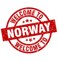 Welcome to norway red stamp vector