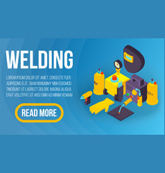 Welding concept banner isometric style vector