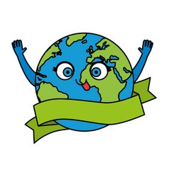 World planet earth with ribbon character vector