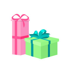 wrapped gift boxes decorative color wrapping bows vector image