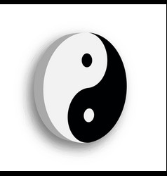 Yin yang symbol icon in black and white 3d vector