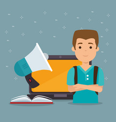 young man with laptop education online vector image