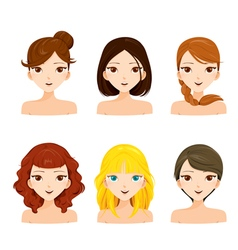 Young women faces with various hairstyles set vector image