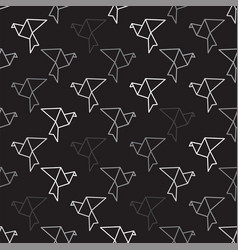 birds outline on black seamless pattern background vector image