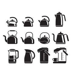 kettle icons set vector image vector image