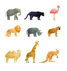 southern wild animals polygonal icons set vector image