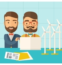 Workers using laptop with windmills vector image vector image