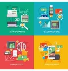 Bank equipment and payment concepts vector image vector image