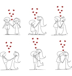 Big set groom and bride with flying hearts vector image vector image