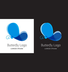 Colorful blue butterfly logo template vector