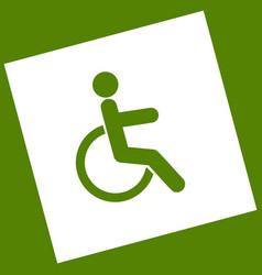 disabled sign white icon vector image vector image