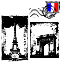 paris in grunge frame vector image