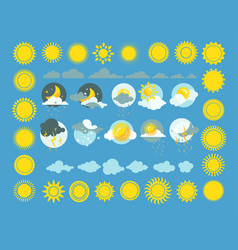 Set of weather icons sun cloud rain vector