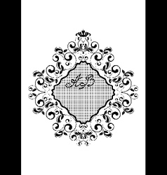 Black wavy rhomboid frame with curls vector image
