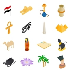 Egypt isometric 3d icons vector image
