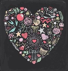 Hand Drawn Vintage Chalk Valentine Set vector image