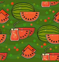 seamless pattern with cute watermelons with seeds vector image vector image