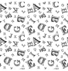 Sketch alphabet seamless pattern vector image