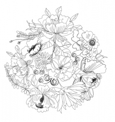 sketch with flowers vector image
