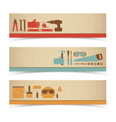 worker equipment banners set vector image