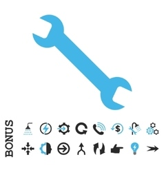 Wrench Flat Icon With Bonus vector image